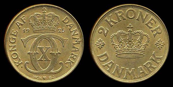 DENMARK, 2 kroner, 1925