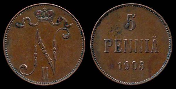 FINLAND, 5 pennia, 1905