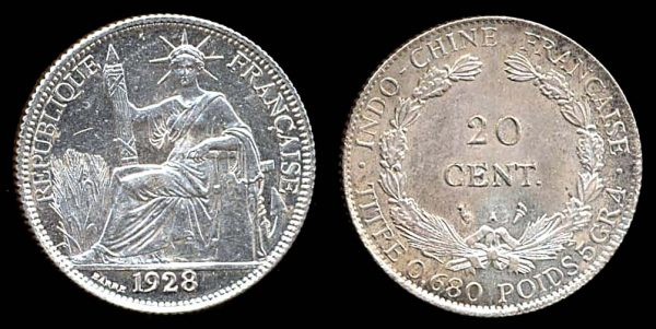 FRENCH INDOCHINA, silver 20 cent, 1928 A