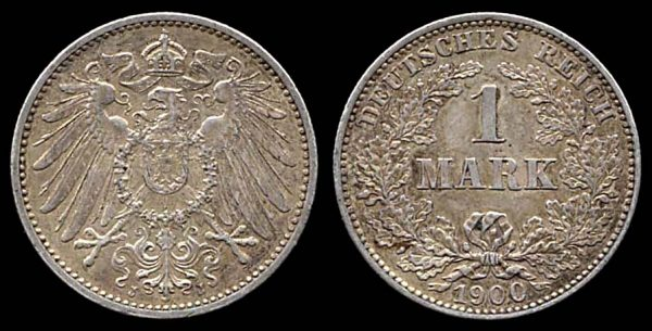 GERMANY, silver 1 mark, 1900 J