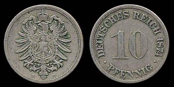 GERMANY, 10 pfennig, 1874 H