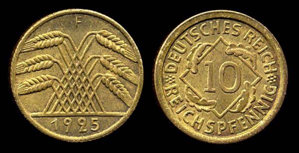 GERMANY, 10 pfennig, 1925 F