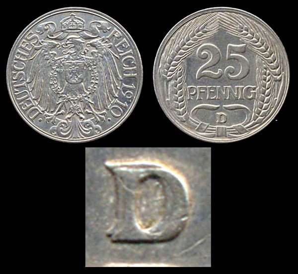 GERMANY, 25 pfennig, 1910 D