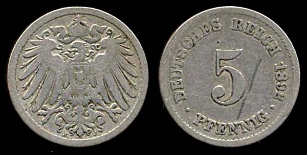 GERMANY, 5 pfennig, 1892 J