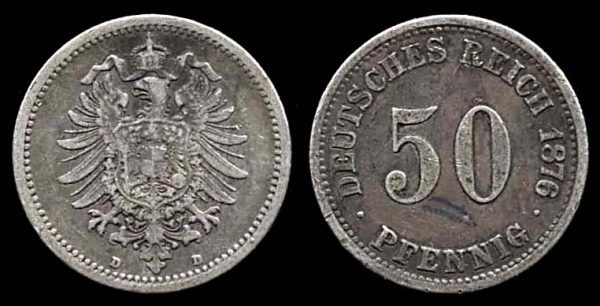 GERMANY, silver 50 pfennig, 1876 D