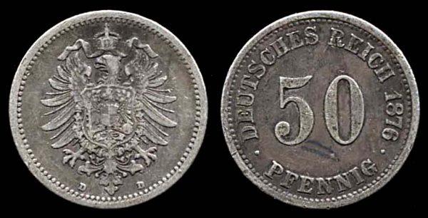 GERMANY, silver 50 pfennig, 1876 D