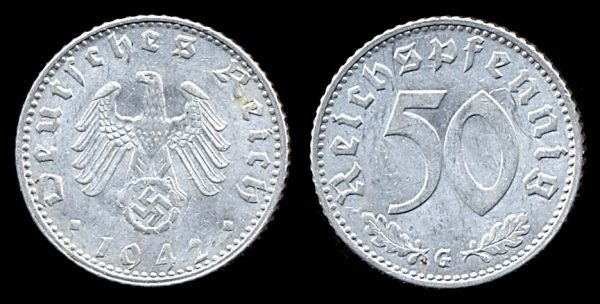 GERMANY, 50 pfennig, 1942 G