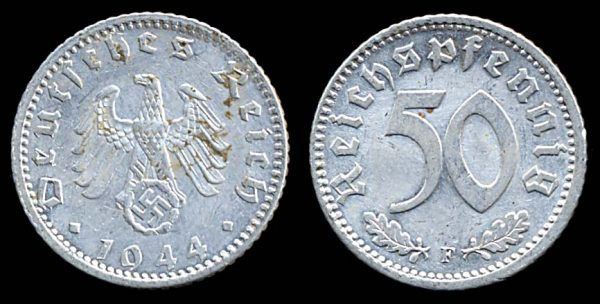 GERMANY, 50 pfennig, 1944 F