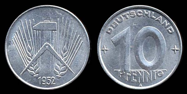 EAST GERMANY, 10 pfennig, 1952 A