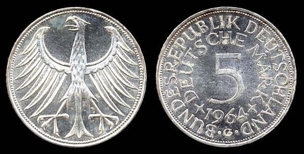 WEST GERMANY, silver 5 deutschemark, 1964 G