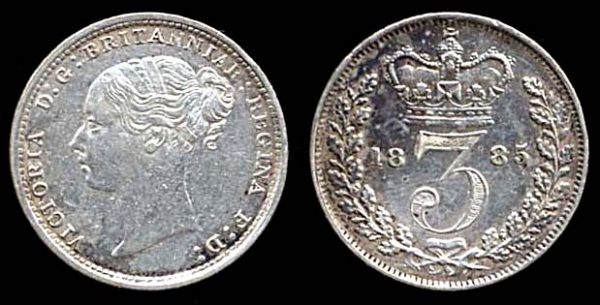 GREAT BRITAIN, silver 3 pence, 1885