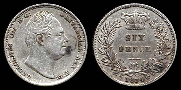 GREAT BRITAIN, silver 6 pence, 1834