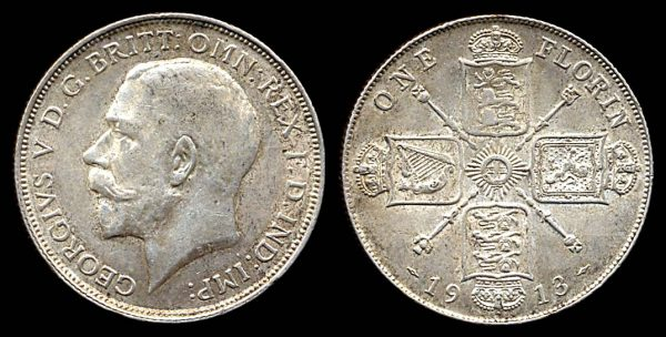 GREAT BRITAIN, silver 1 florin, 1913