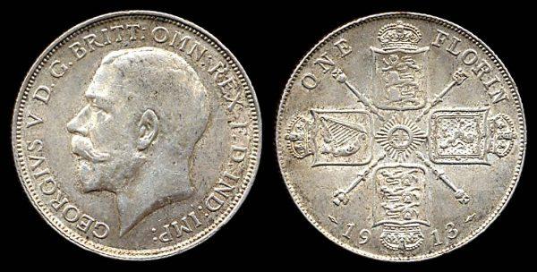 GREAT BRITAIN, silver 1 florin, 1913