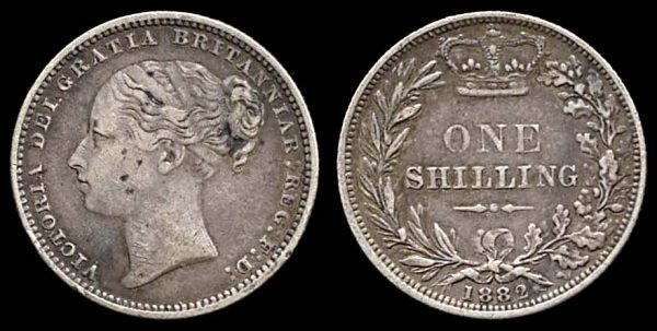 GREAT BRITAIN, silver 1 shilling, 1882