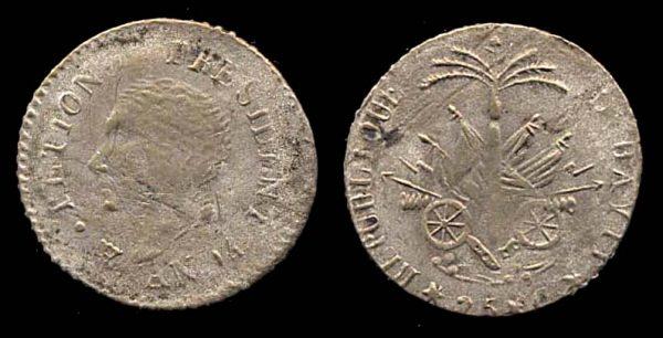 HAITI, silver 25 centimes, AN 14 (1817 AD)