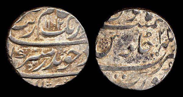 INDIA, MUGHAL, Aurangzeb, silver rupee, 1102 AH (1690 AD) year 24 (sic), Surat mint