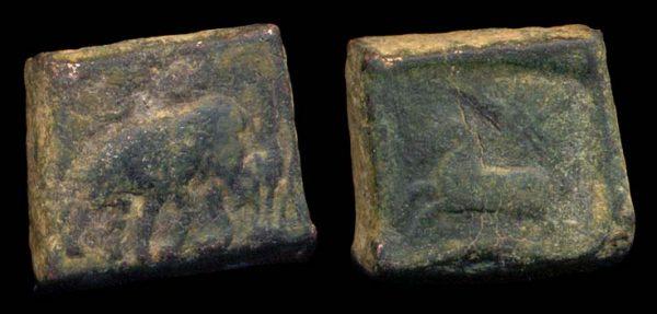PUSHKALAVATI, c 185-160 BC, bronze 1 1/2 karshapana with horse,