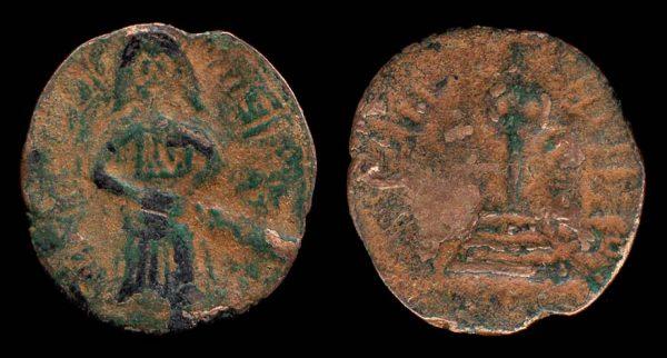 UMAYYAD, copper, Standing Caliph fals, Hims mint