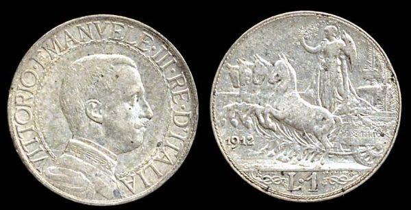 ITALY, silver 1 lira, 1912