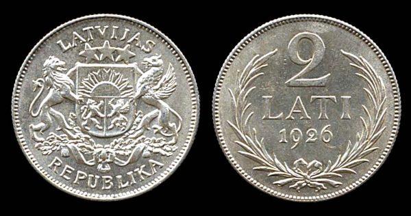 LATVIA, silver 2 lati, 1926