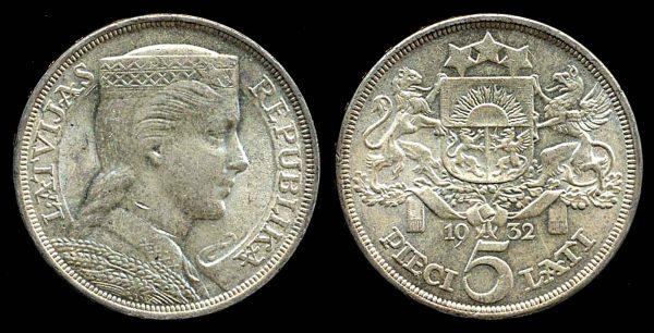 LATVIA, silver 5 lati, 1932