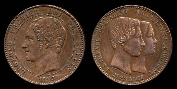 BELGIUM, bronze medal, 1853, marriage of the king's son
