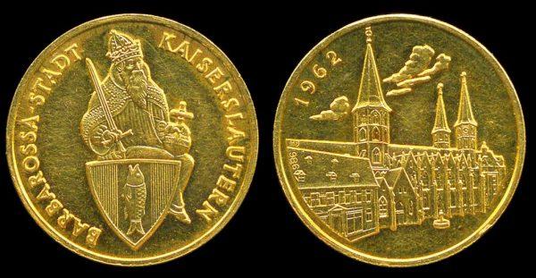 GERMANY, gold ducat medallet, Kaiserslautern 1962
