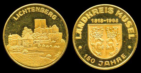 GERMANY, gold ducat medallet, Lichtenberg 1968