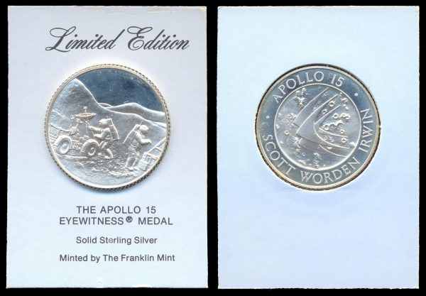 USA, silver medal, Apollo 15 moon landing, Franklin mint