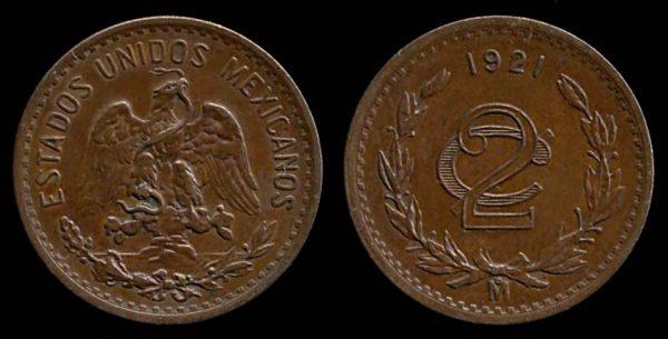 MEXICO, 2 centavos, 1921