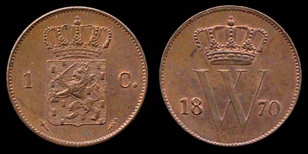 NETHERLAND, 1 cent, 1870