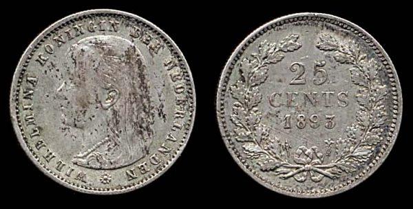 NETHERLAND, silver 25 cent, 1893