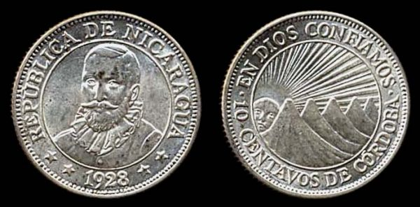 NICARAGUA, silver 10 centavos, 1928