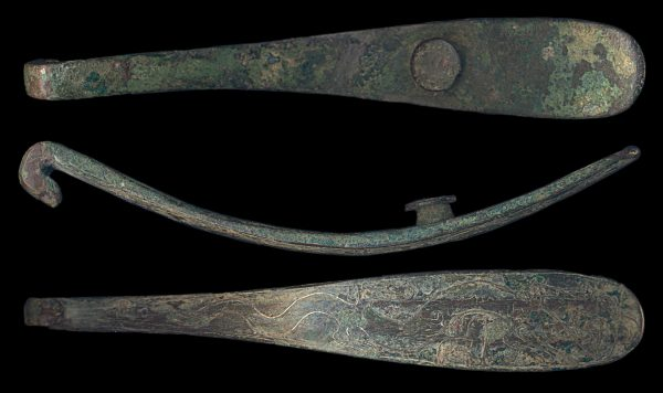 CHINA, HAN Dynasty, c. 200-100 BC, bronze belthook with silver inlay