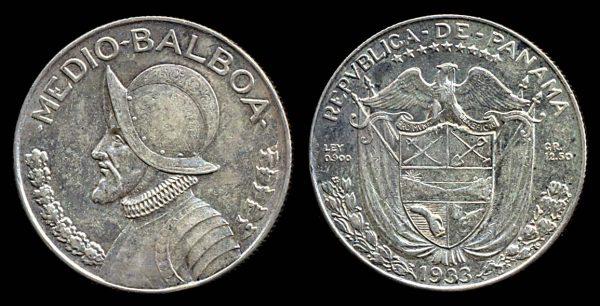 PANAMA, silver 1/2 balboa, 1933