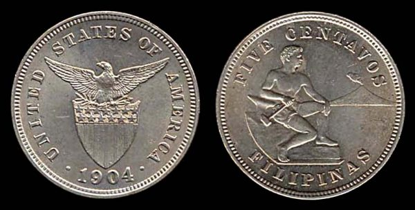 PHILIPPINES, 5 centavos, 1904