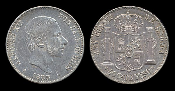 PHILIPPINES, silver 50 centimos, 1885