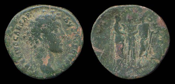 ROMAN EMPIRE, Marcus Aurelius, Caesar, 139-161 AD, bronze as