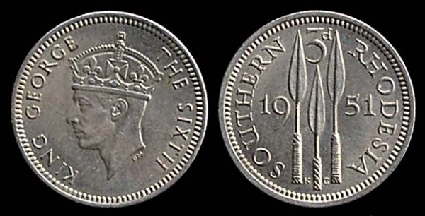 SOUTHERN RHODESIA, 3 pence, 1951