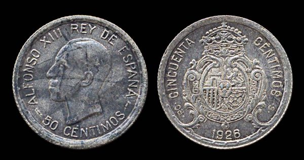 SPAIN, silver 50 centimos, 1926