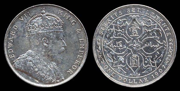 STRAITS SETTLEMENTS, silver 1 dollar, 1907