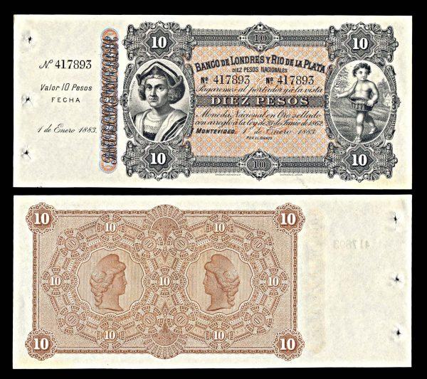 URUGUAY, Banco de Londres y Rio de la Plata, 10 pesos, 1.1.1883