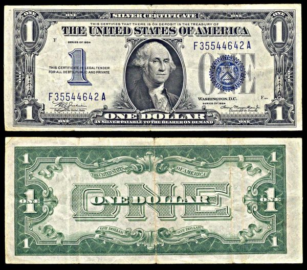USA, Silver Certificate, 1 dollar, 1934