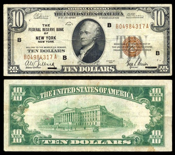 USA, National Currency, 10 dollars, 1929