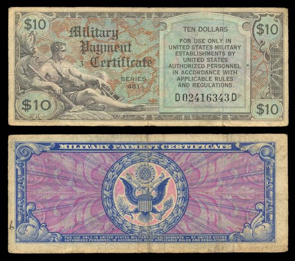 USA, Military Payment Certificate, 10 dollars, series 481