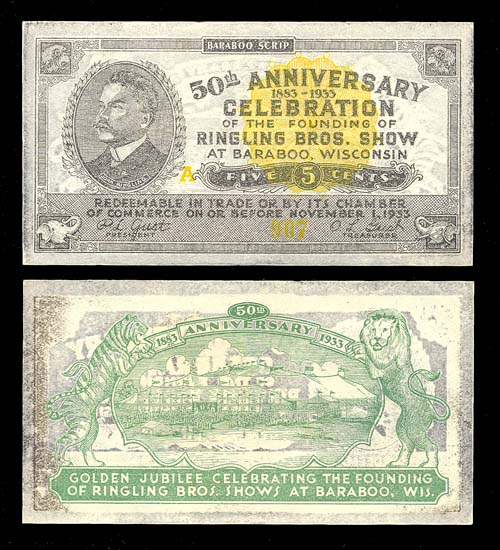 USA, WISCONSIN, BARABOO, Ringling Bros., 5 cents, until 1.11.1933