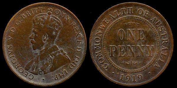 AUSTRALIA, 1 penny, 1919