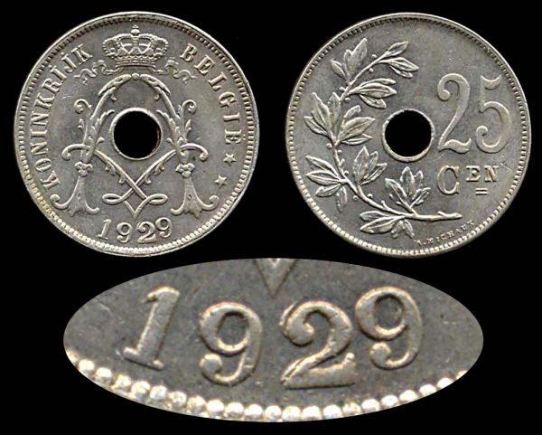 BELGIUM, 25 centimes, 1929 2 over 2