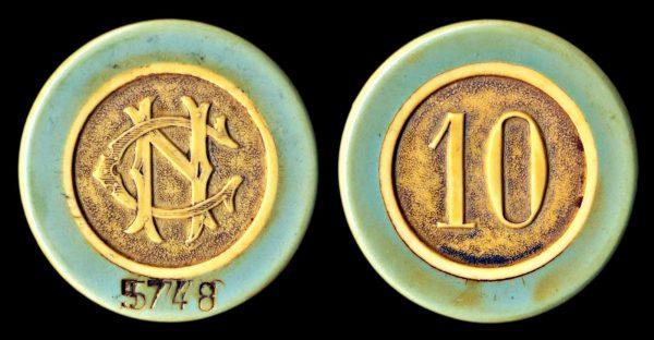 BELGIUM, NAMUR, casino chip, (1945-50)